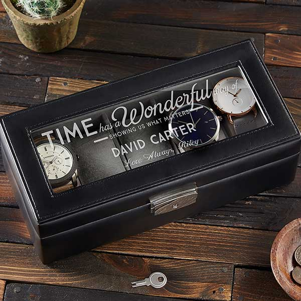 Leather 5 Slot Watch Box Timeless Message