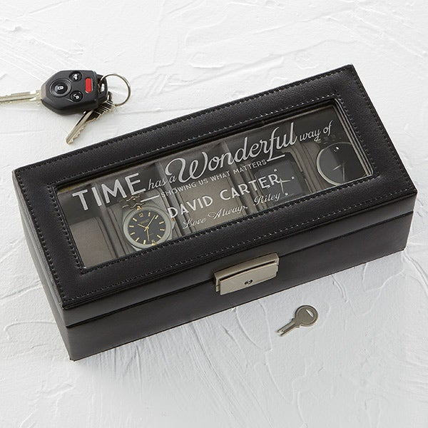 Leather 5 Slot Watch Box - Timeless Message - 15648