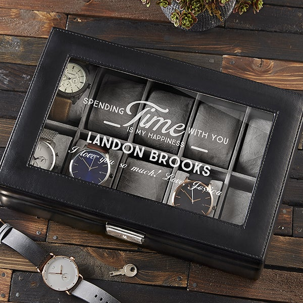 Leather 10 Slot Watch Box Timeless Message
