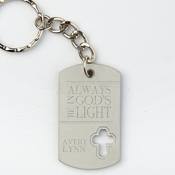 Personalized Cross Dog Tag Keychain - God's Light - 15689
