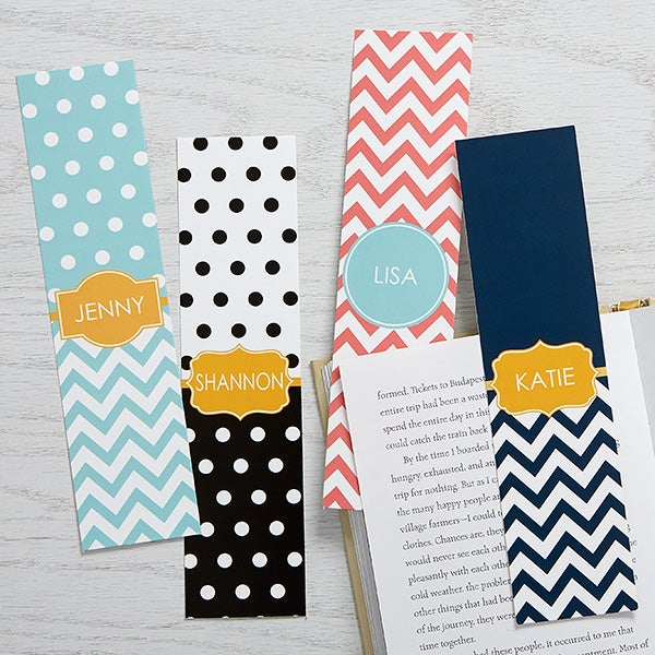 Personalized Paper Bookmarks Set of 4 - Preppy Chic - 15715