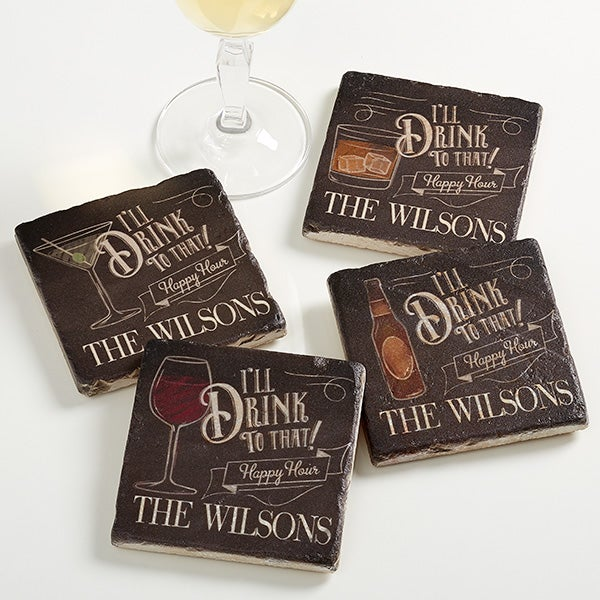 Personalized Happy Hour Tumbled Stone Coaster Set - I'll Drink To That - 15770