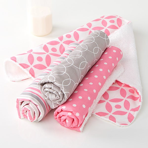 Trendy Baby Girl Burp Cloth Set - 15789