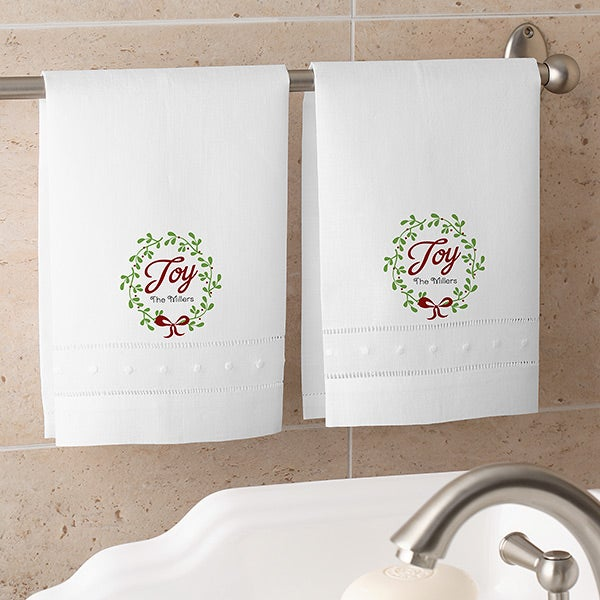 Personalized Spirit Towels: Personalized Christmas Linen Guest Towel Set