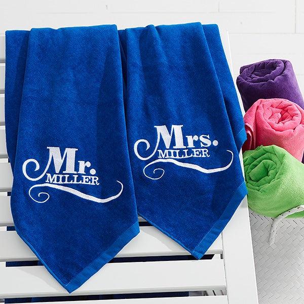 Embroidered Towels For Wedding Gift: Mr & Mrs Embroidered Beach Towel Set