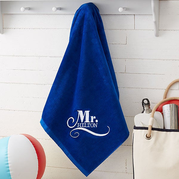 86e906255 Mr & Mrs Embroidered Beach Towel Set - 36x72