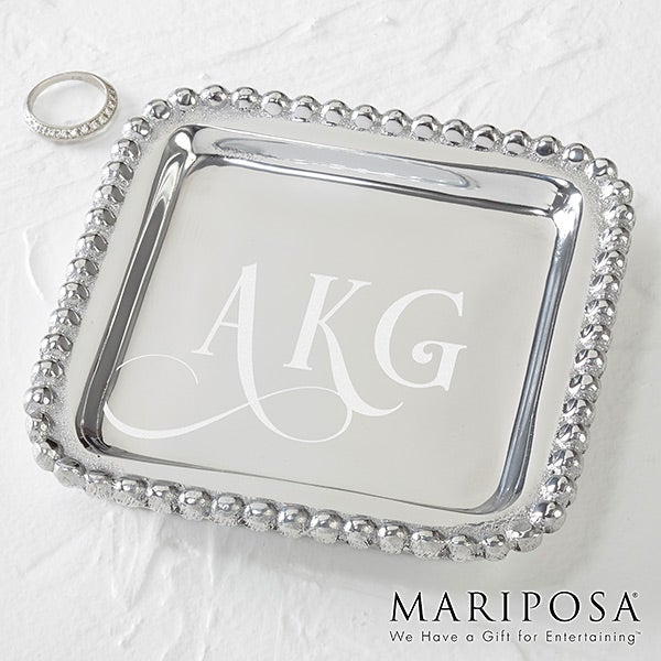 Personalized Mariposa String Of Pearls Jewelry Monogram Tray - 15860