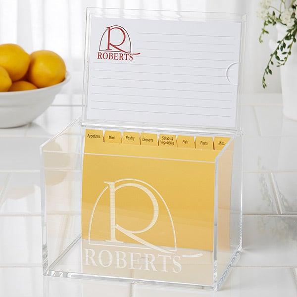 Personalized 4x6 Recipe Box and Recipe Cards - Monogram Elegance - 15887