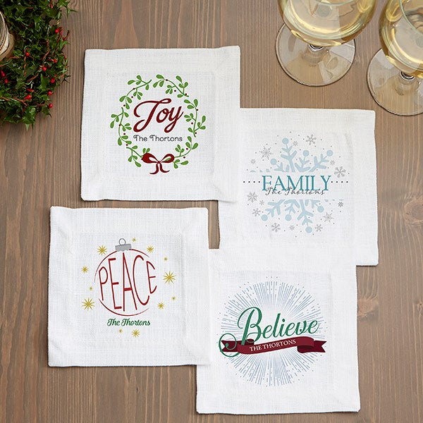 Personalized Holiday Cloth Cocktail Napkins - Spirit Of The Season - 15897