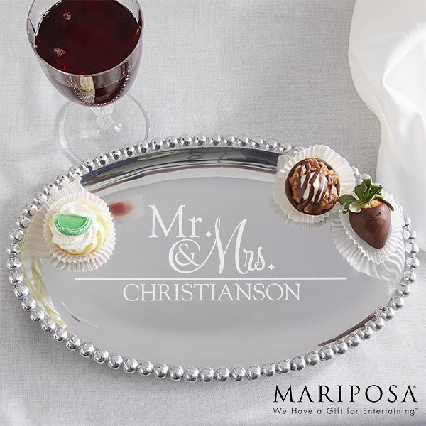 Mariposa String of Pearls Personalized Oval Serving Tray - Wedded Pair - 15904