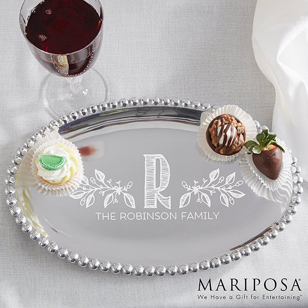 Mariposa String of Pearls Personalized Oval Serving Tray - Family Name - 15905