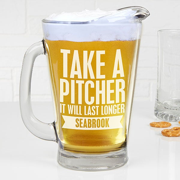 Personalized Deep Etch Beer Pitcher - Beer Quotes - 15923