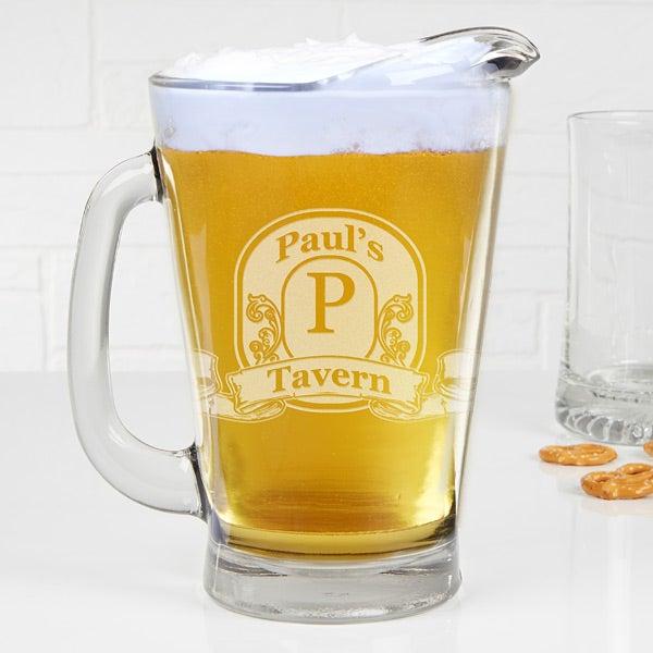 Personalized Deep Etch Beer Pitcher - Vintage Bar Sign - 15924