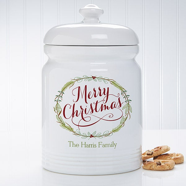 Personalized Christmas Cookie Jar - Happy Holidays - 15927