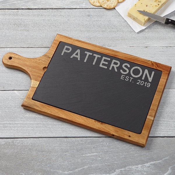 Personalized Slate & Wood Paddle Board - Rustic Family - 15944