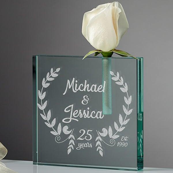 Personalized Romantic Bud Vase - Happy Anniversary - 15948