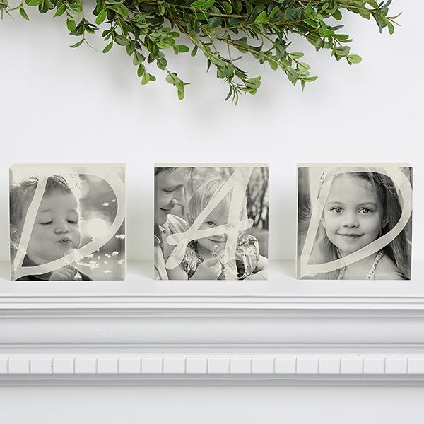 DAD Personalized Photo Shelf Blocks- Set of 3