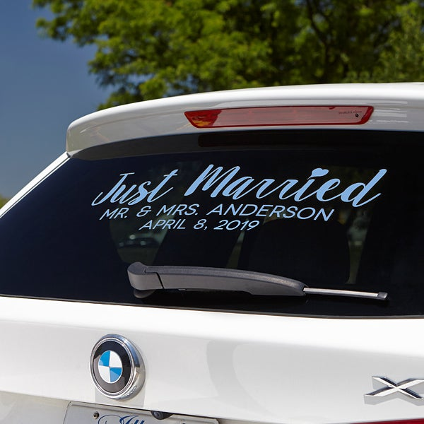 Just Married Personalized Window Decal - 16016