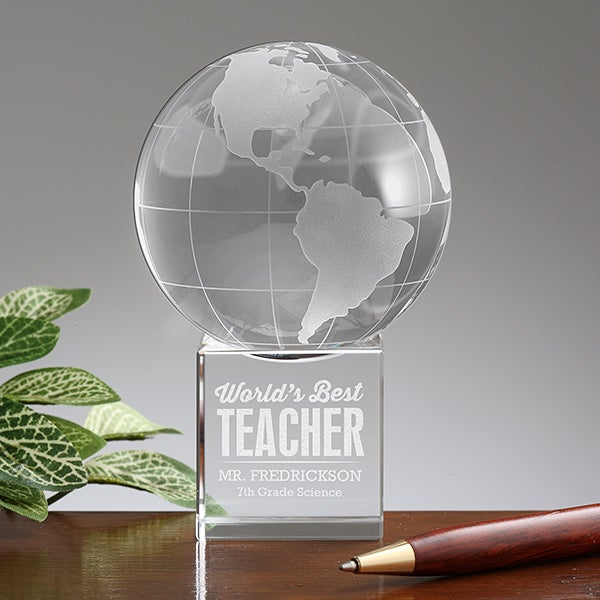 Personalized World's Best Teacher Award - Glass Globe - 16021