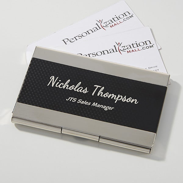 Black Silver Business Card Case