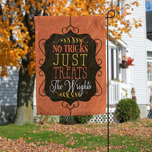Personalized Halloween Garden Flag - No Tricks, Just Treats - 16099