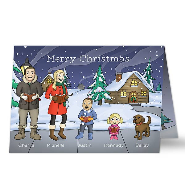 Personalized Christmas Cards.Caroling Family Characters Christmas Cards