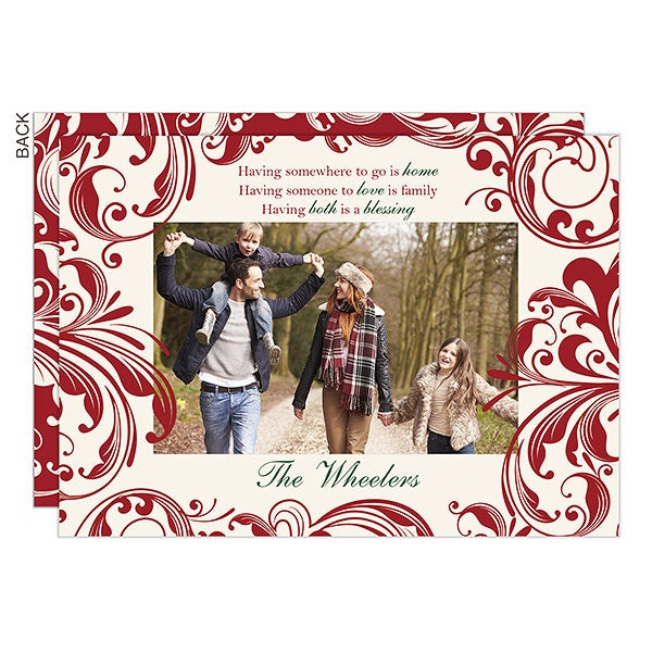 Personalized Flat Christmas Cards - Christmas Blessings - 16120