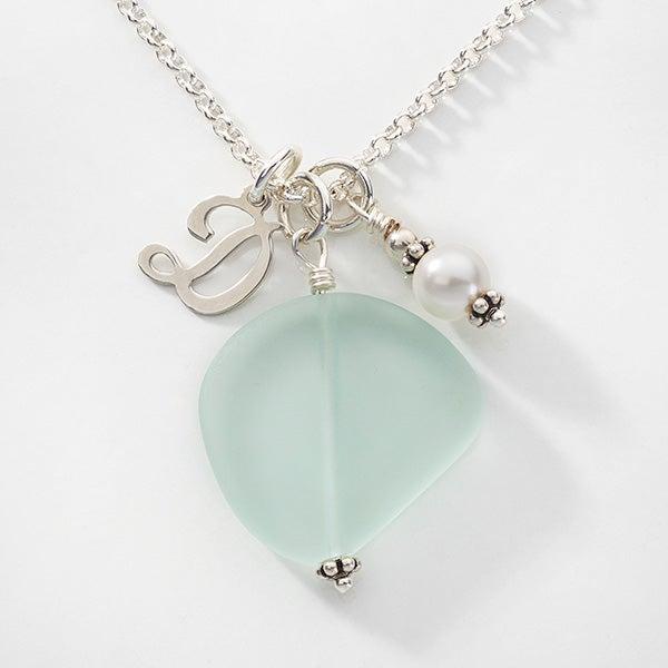 Sea Glass Initial and Swarovski Birthstone Necklace - 16157D
