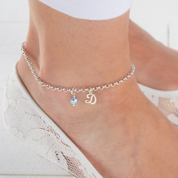 Swarovski Pearlized Birthstone and Initial Anklet - 16160D
