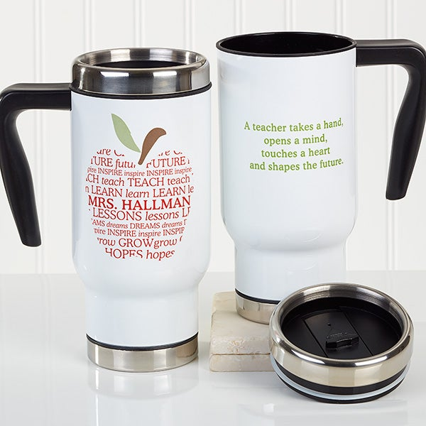 Personalized Teacher Commuter Travel Mug - Apple Scroll - 16174