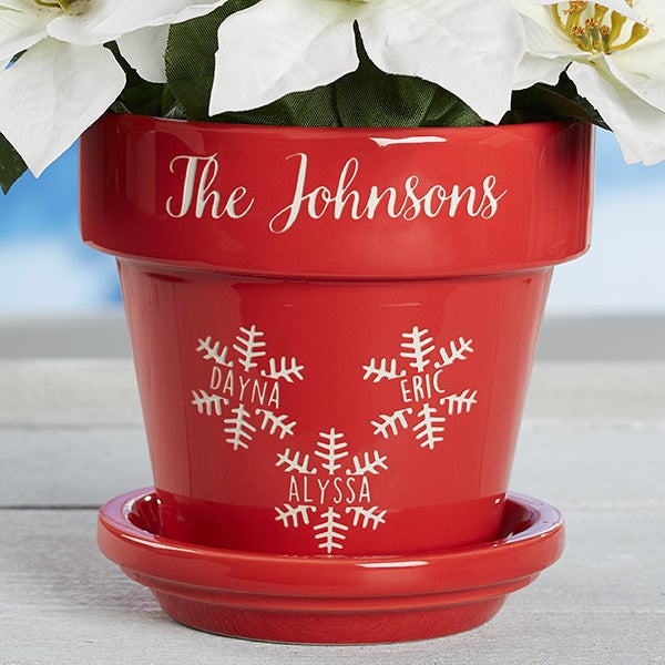 Personalized Flower Pots - Holiday Snowflake Family  - 16195