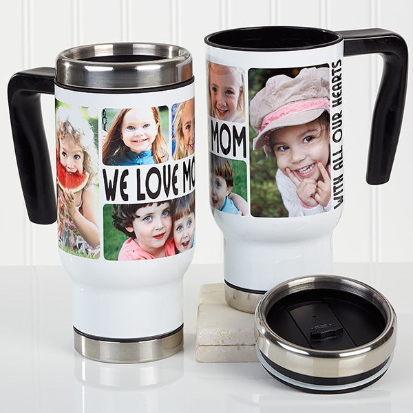 Personalized Photo Commuter Travel Mug - 5 Photos Loving Message - 16206