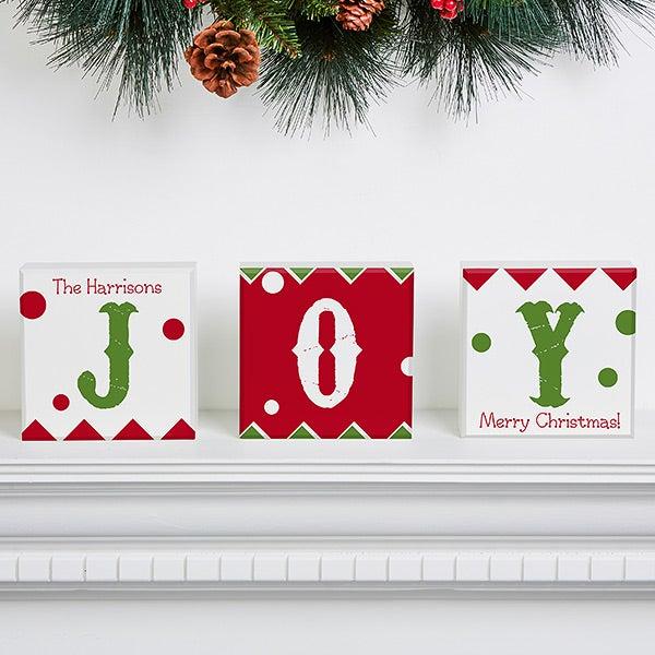 Personalized Christmas Shelf Blocks Set Of 3 - Jolly Jester - 16208