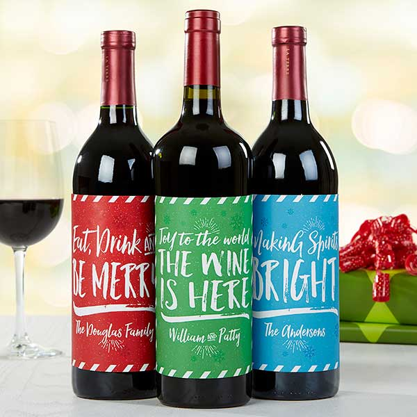Personalized Holiday Cheer Wine Bottle Labels  - 16209