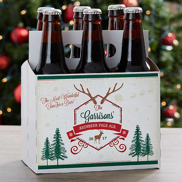Beer Christmas Gifts.Custom 6 Pack Bottle Carrier Holiday Brew