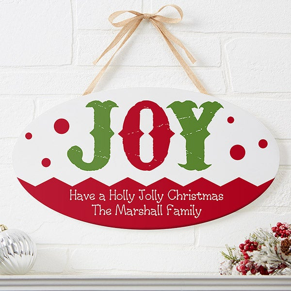 Personalized Christmas Oval Wood Sign - Jolly Jester - 16214