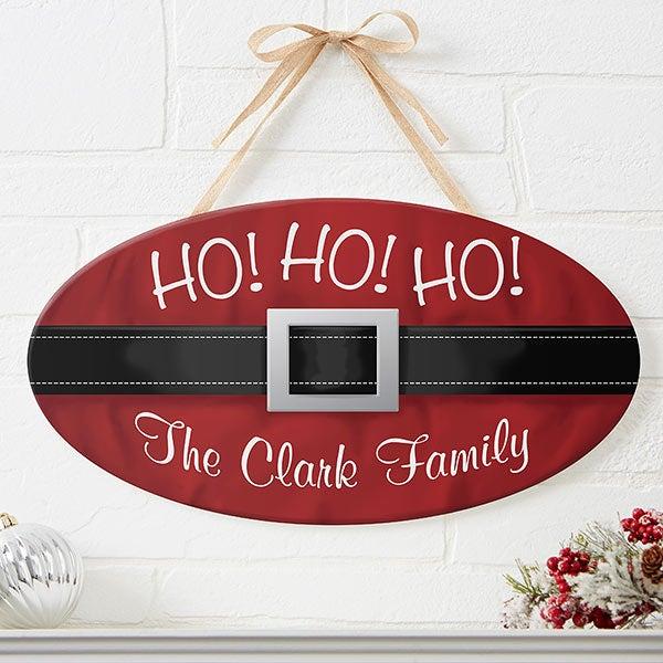 Personalized Christmas Oval Wood Sign - Ho! Ho! Ho! Santa Belt - 16215