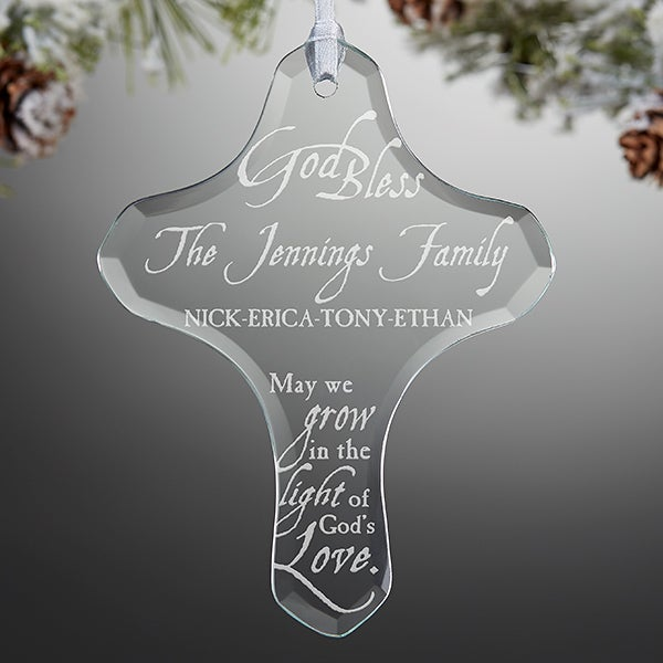 Personalized Family Cross Ornament  - Grow In God's Love - 16219