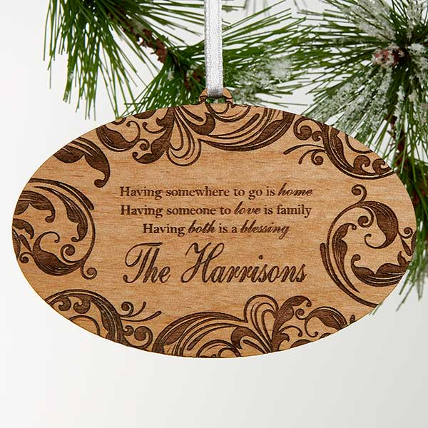 Personalized Wood Christmas Ornament - Family Blessings - 16225