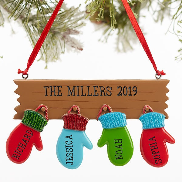Family Christmas Gifts.Personalized Warm Mitten Family Christmas Ornaments 4 Names