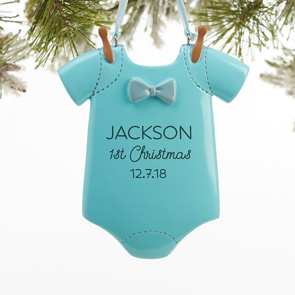 Personalized Baby Christmas Ornaments - Baby Boy Bodysuit - 16254