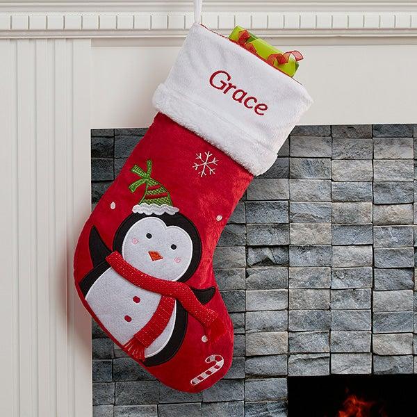 personalized christmas stockings santa claus lane 16275 penguin stocking