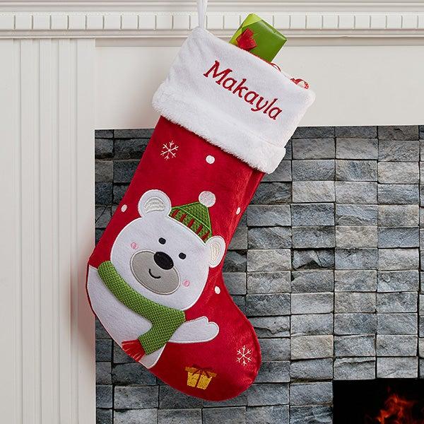 Bear Christmas Stocking.Personalized Christmas Stockings Polar Bear
