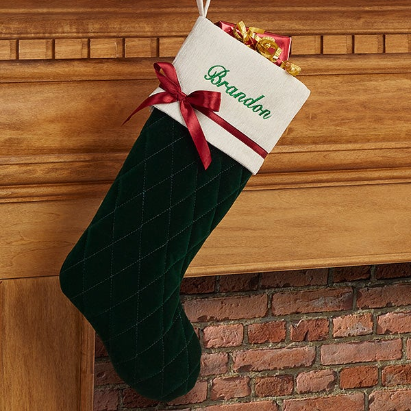 Personalized Quilted Christmas Stockings - Winter Classic - 16279
