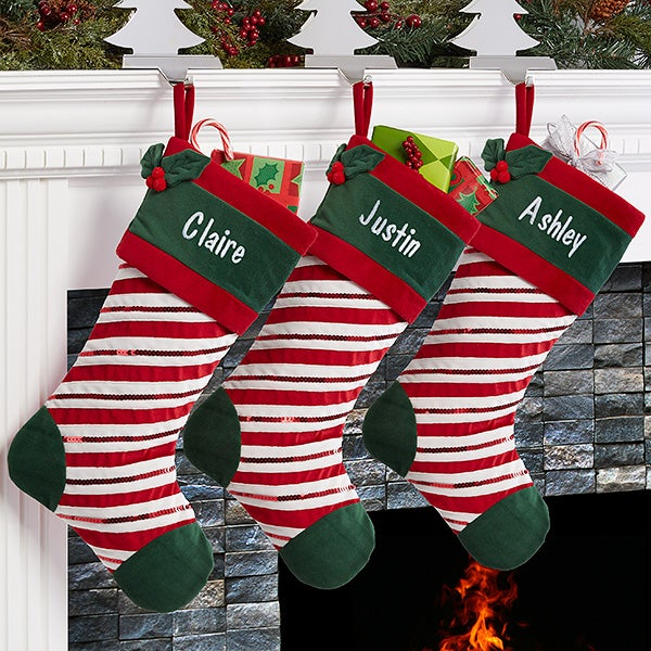 Personalized Christmas Stockings - Candy Cane Sparkle - 16284