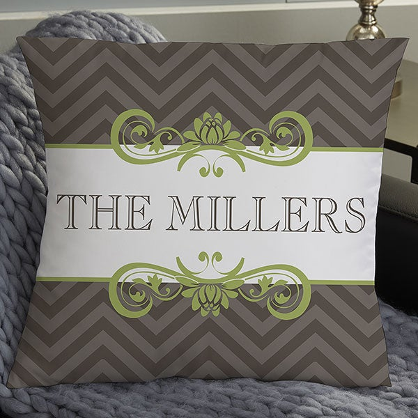 Personalized Family Name Throw Pillows - Classic Chevron - 16299