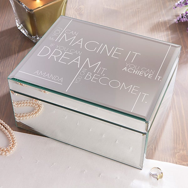 Engraved Mirrored Jewelry Box - Inspiring Messages - 16328