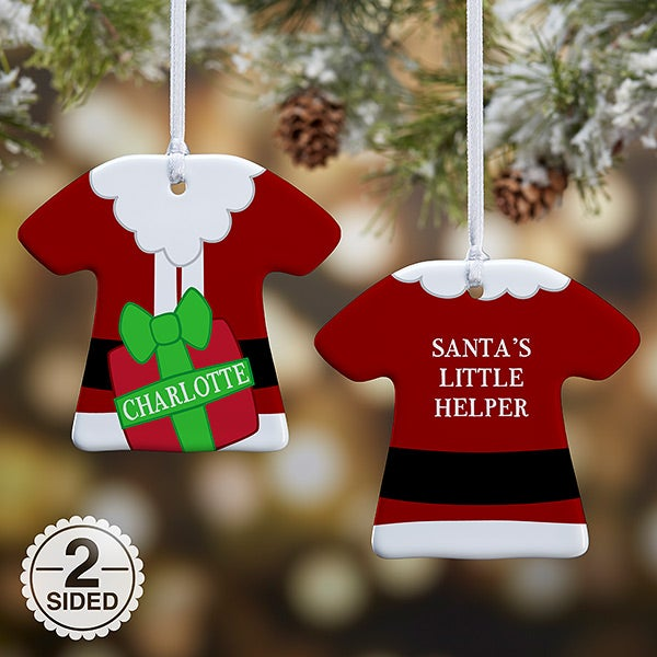Personalized T-Shirt Christmas Ornament - Santa's Little Helper - 16334