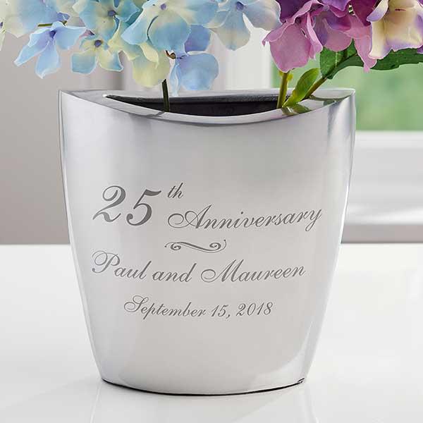 Personalized Romantic Silver Vase - Everlasting Love - 16342