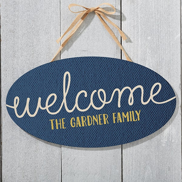 Personalized Oval Wood Sign - Home Greetings - 16346
